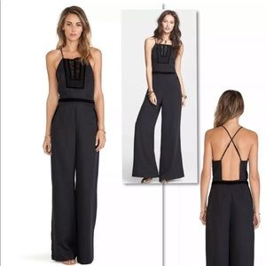 FREE PEOPLE BLACK LACE CROCHET  JUMPSUIT PANT